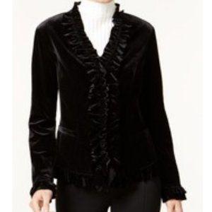 Women's INC Ruffled Velvet Jacket (Size Large)
